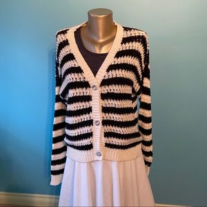 Women's Only black/white striped cardigan sweater